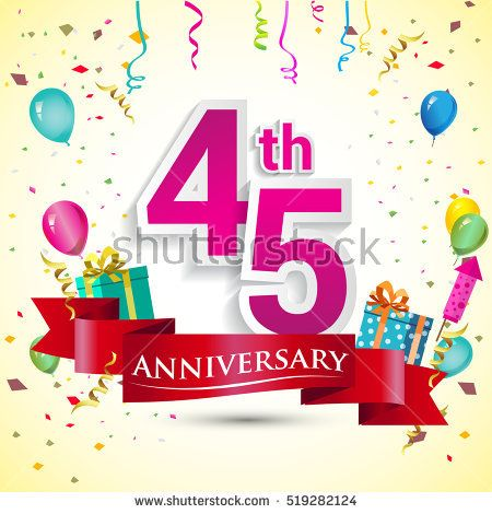 45th Years Anniversary Celebration Design, with gift box and balloons, red ribbon, Colorful Vector template elements for your birthday party.