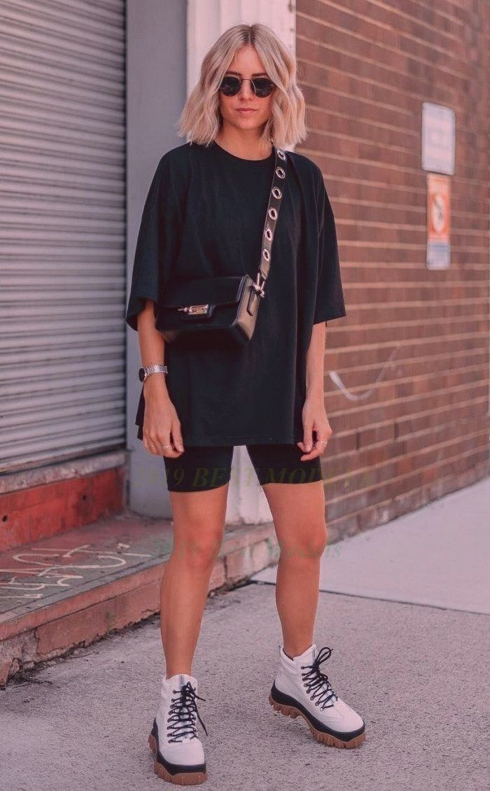 oversized t shirt and cycling shorts