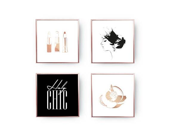 SET of 4 Prints Holy Chic Perfume Bottle Home Decor Gold