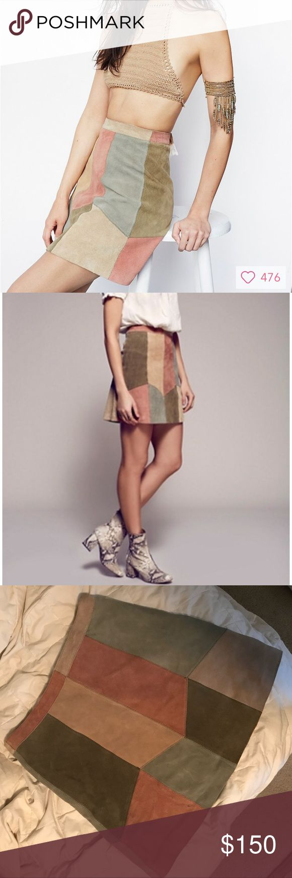 Rare Free People Could Be Us Patchwork Mini Skirt NWOT. Pastel, color blocked suede mini skirt. Like new condition besides a small flaw on bottom left corner of skirt (pictured, but which you cannot see unless you search for it)— I purchased it in this condition. Back zip and clasp closure. Measurements for the size 6 are in the last image. Make an offer. ✨ Free People Skirts Mini