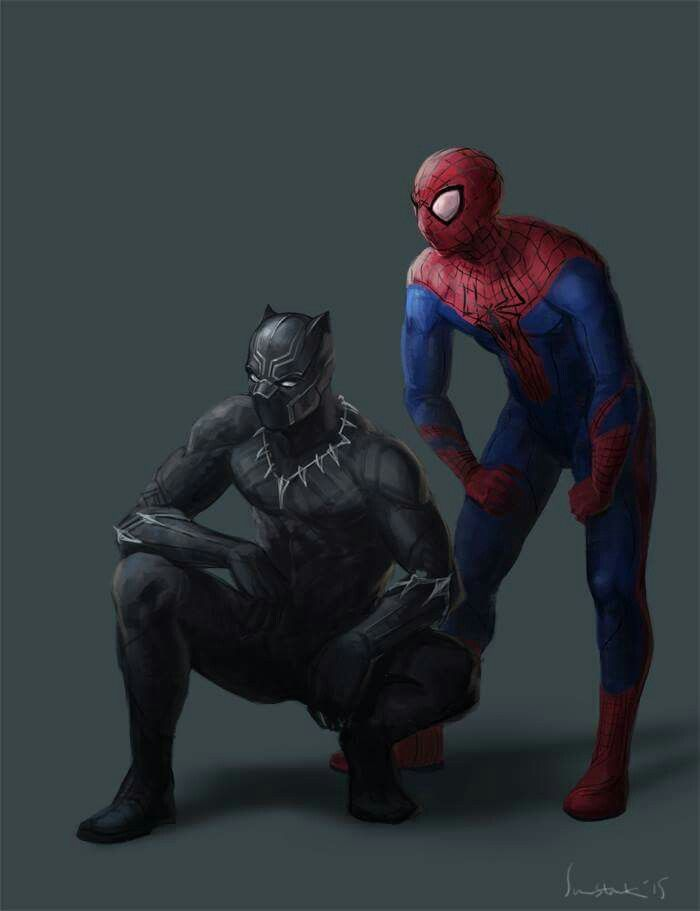 T'Challa in his MCU Black Panther uniform crouching besides Peter Parker as Spider-Man by Sun-Starkis