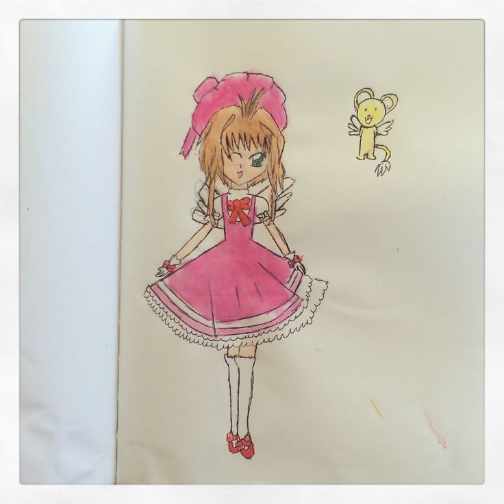 Sakura Cardcaptor-Aquarela, pencil and paper (9yrs. old)