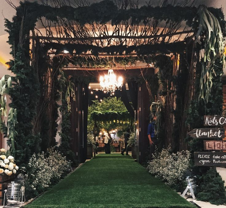 wedding reception surabaya indonesia decoration rustic greenery