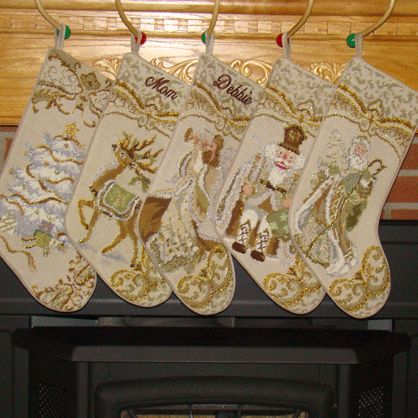 Glittering Silver and Gold needlepoint Personalized Christmas Stockings are a true heirloom.