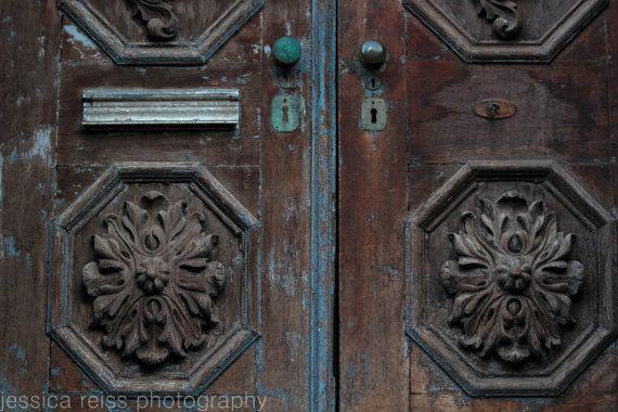 Old Rustic bruin Turquoise deur Art Print Decor door jessicareisspix