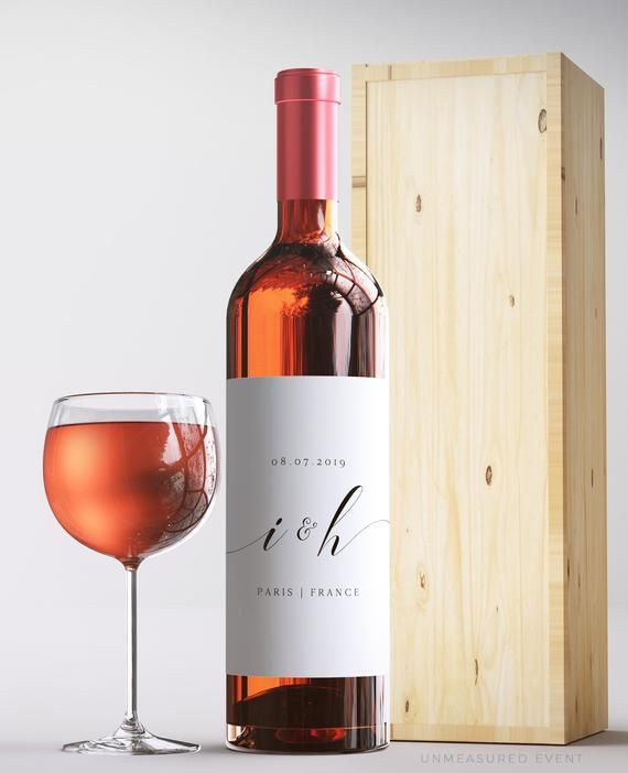 Modern Wedding Wine Label Template Wedding Wine Bottle Labels