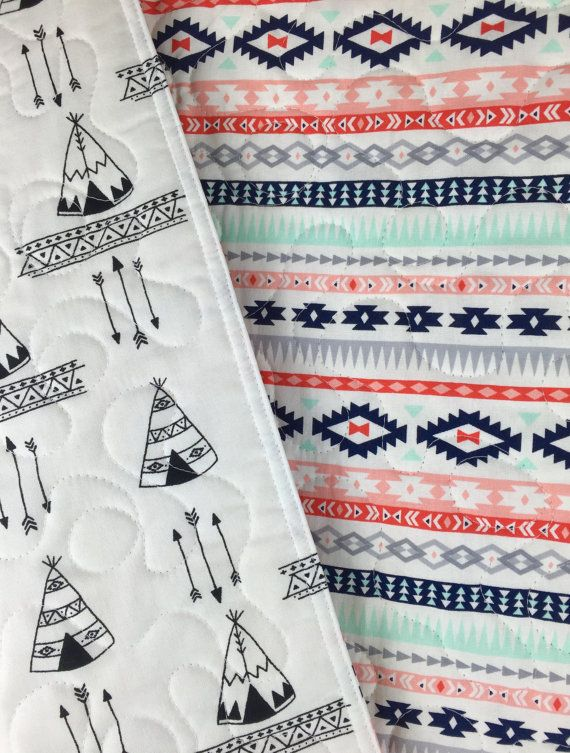 Darling....only $98. Tribal Baby Quilt Aztec tribal baby bedding by BabyQuiltsbyRomiW