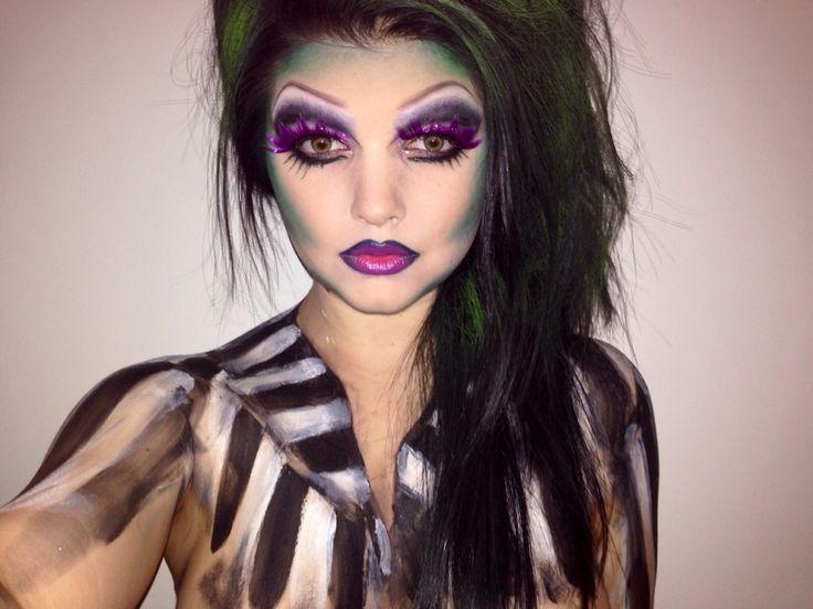 Girl beetle juice makeup body paint