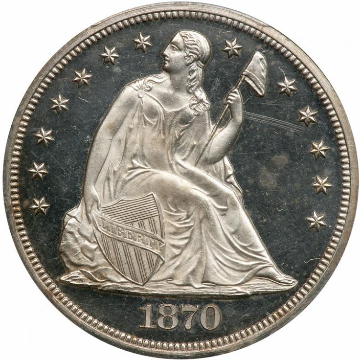 1870 Liberty Seated Dollar. PCGS PF64 A glittering white beauty with deep mirrors throughout and a touch of tone just starting to form. Only 1,000 minted. Pursuant to the Act of March 3, 1865, the Silver Dollar was included among the other silver coins which had to bear the motto IN GOD WE TRUST. This modification succeeded the No Motto coins of 1840-65. The first Proof Seated Dollars sold to the public to carry the motto were issued in 1866. For such a large coin, injuries were common…