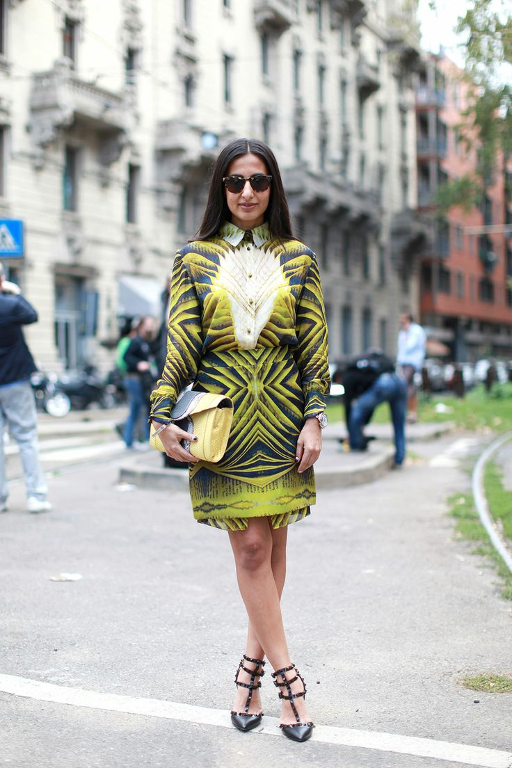 70 Bellissima Milan Street-Style Shots #refinery29  http://www.refinery29.com/54070#slide29  A trompe-l'oeil-textured dress that'll make your eyes bulge in amazement.