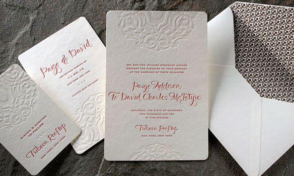 Lashar Letterpress Wedding Invitations. Cream Invitation with brown patterned envelope liner.