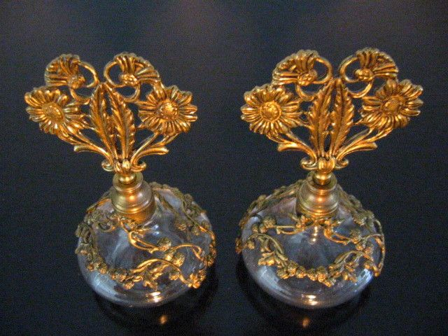 Matson Perfume Bottles Art Deco Filigree Ormolu Brass Over Glass