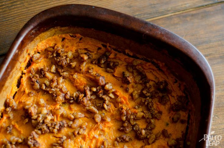 A really simple side dish of mashed sweet potatoes with walnuts and coconut milk that's perfect for the holiday season to serve alongside savory meals.