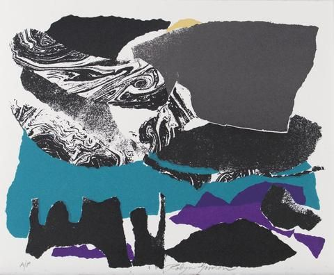 Robyn Gordon 'Untitled (Ocean and Rock)' - screenprint on paper