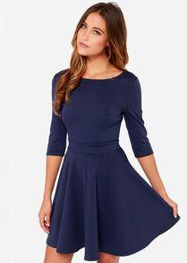 robe avec plissé mi-manche -marine