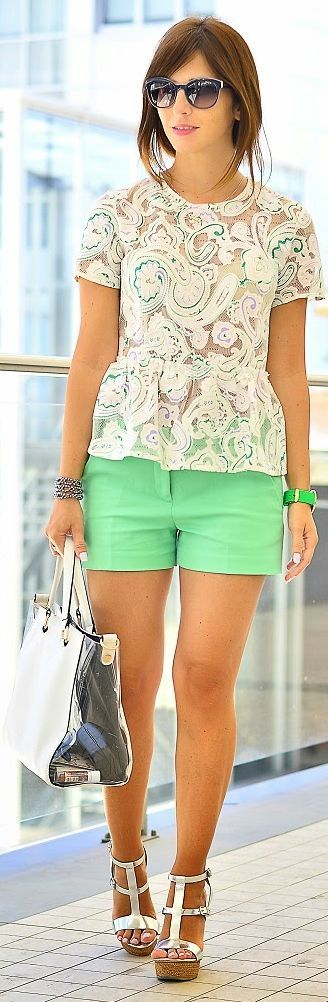 Front Row Shop White And Green Peplum Embroidered Top