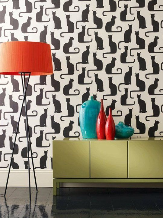 fancy felines black cat decor apartment therapy main - Cool Wallpaper Designs For Bedroom