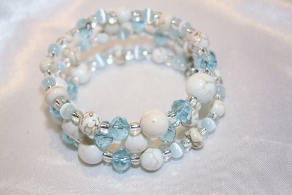 White Howlite and Blue Crystal Memory Wire by CathyCJewelsandDecor