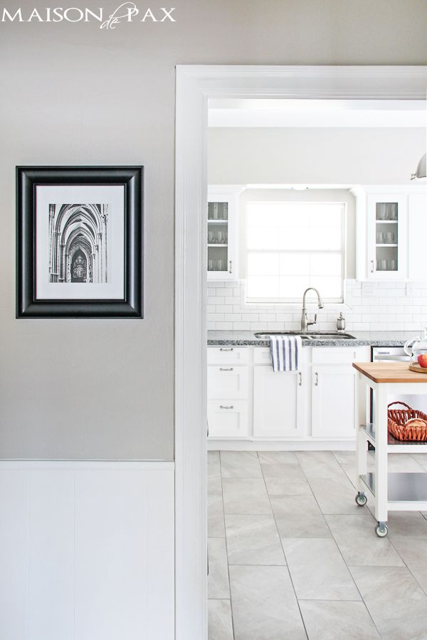 #3. Shop porcelain floor tiles. I cannot tell you how impressed I am lately by some of the gorgeous porcelain tiles out there.  We used these, and everyone keeps asking if our floors are marble.  I also love that they come in 12×24 – I think it gives it a more upscale look and lengthens the room at the same time.