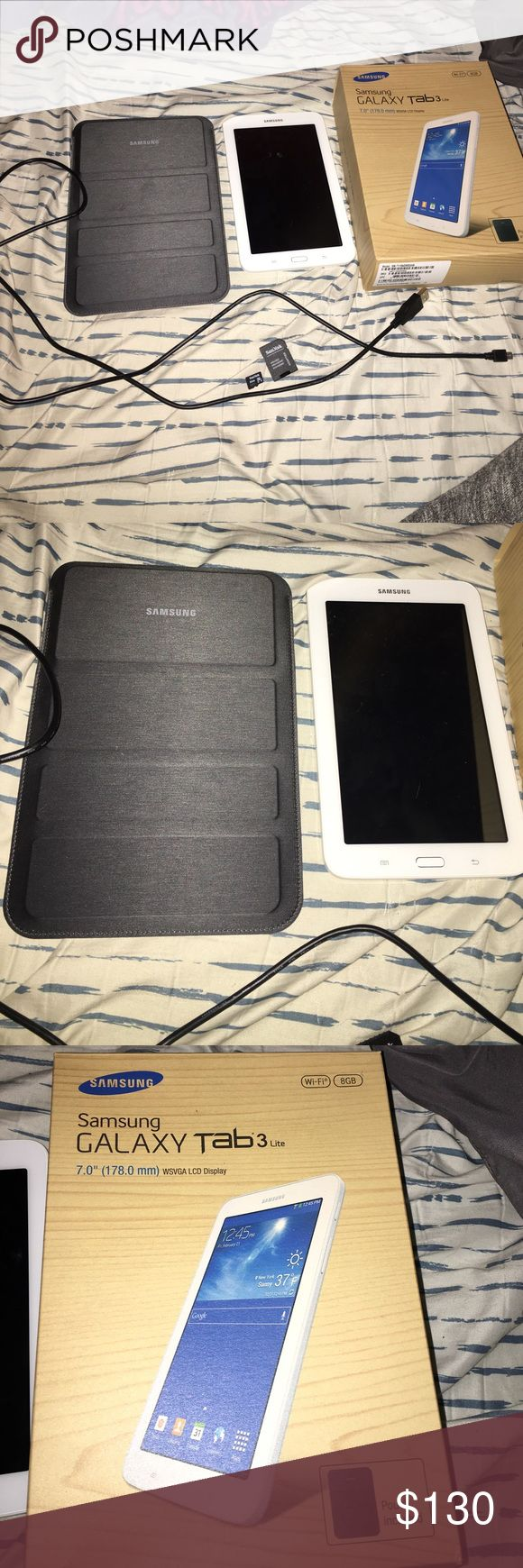 Samsung galaxy tablet 3 Used a handful of times, in great condition. Comes with charge, a case, 32gb sd card, and original box. Accessories