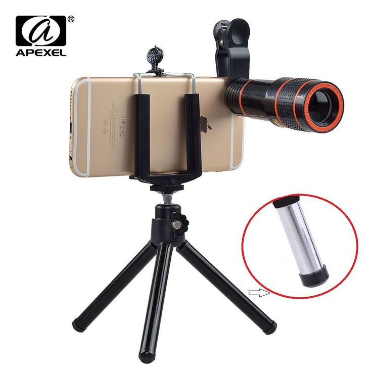 12X Zoom Mobile Phone Lens for iPhone 7 6S plus Samsung S7 S8 plus Smartphones Clip Telescope Camera Lens with Tripod APL-HS12X //Price: $13.49//     #shop