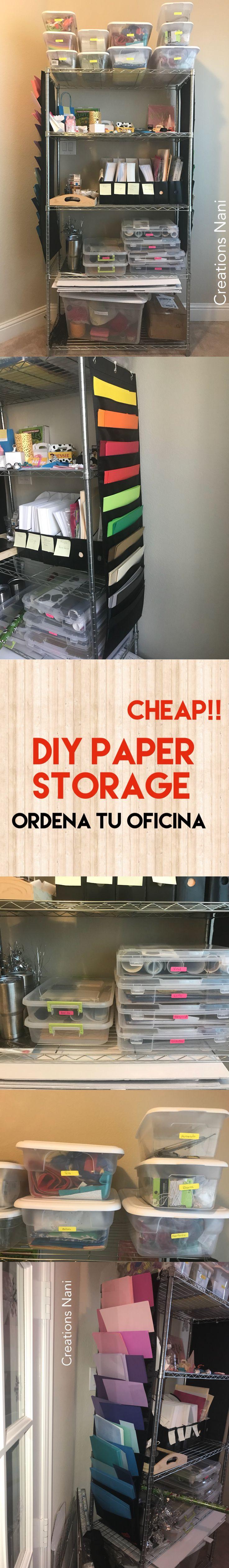 cheap !!!  DIY paper Storage   Creations Nani  Help you to organize your craft room  Ordena tu oficina  Cuarto de Manualidades  Organizador de papel