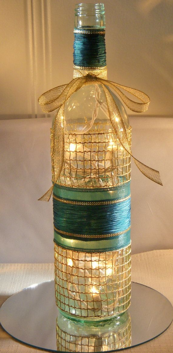 625 best painted wine bottles images on pinterest wine bottle beautiful teal christmas wine bottle lamp with by ecoartbynancy 2500 solutioingenieria Images