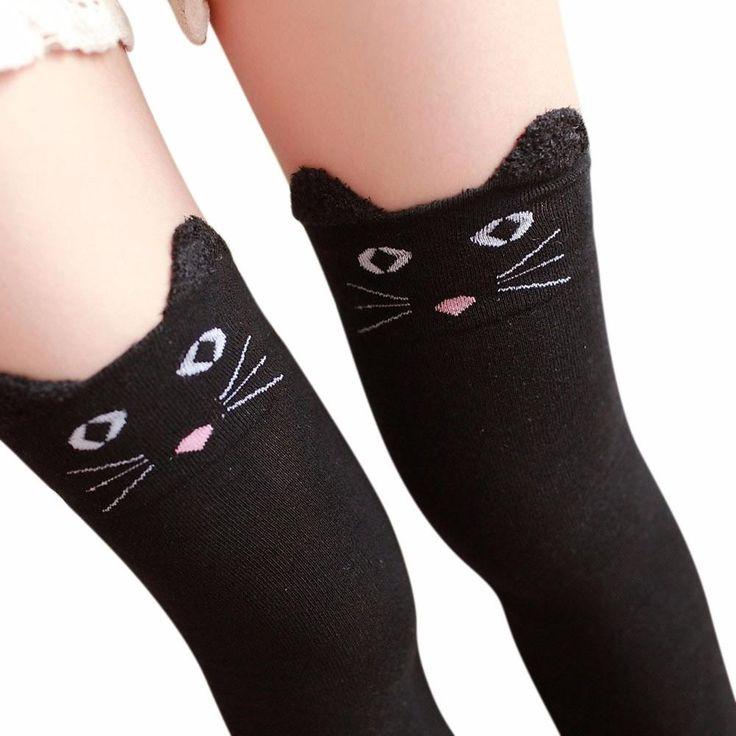Womens Knitted Cat/Kitty Long-Thigh High Boot Socks