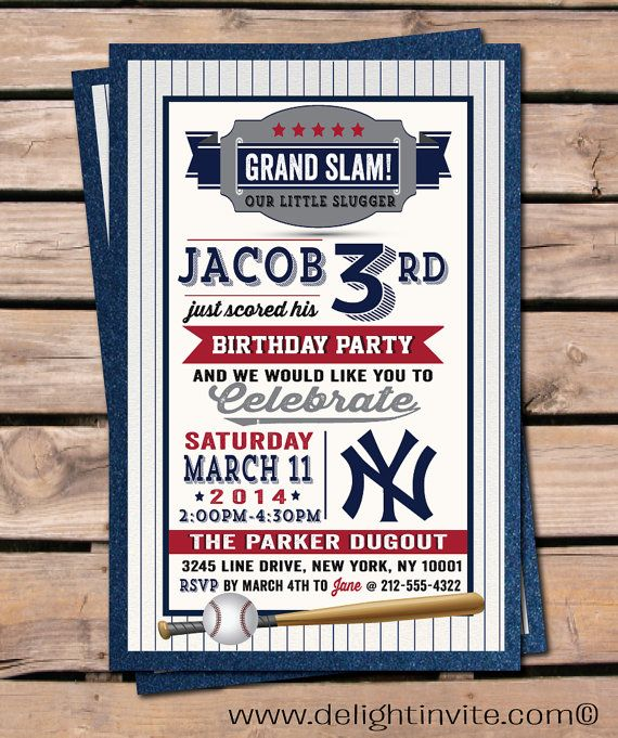 Baseball Invitation Birthday Invitations, Yankee's Baseball boy birthday invitations, little slugger baseball invitations