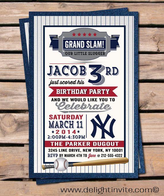 Baseball Invitation Birthday Invitations, Yankee's Baseball boy birthday invitations, little slugger baseball invitations