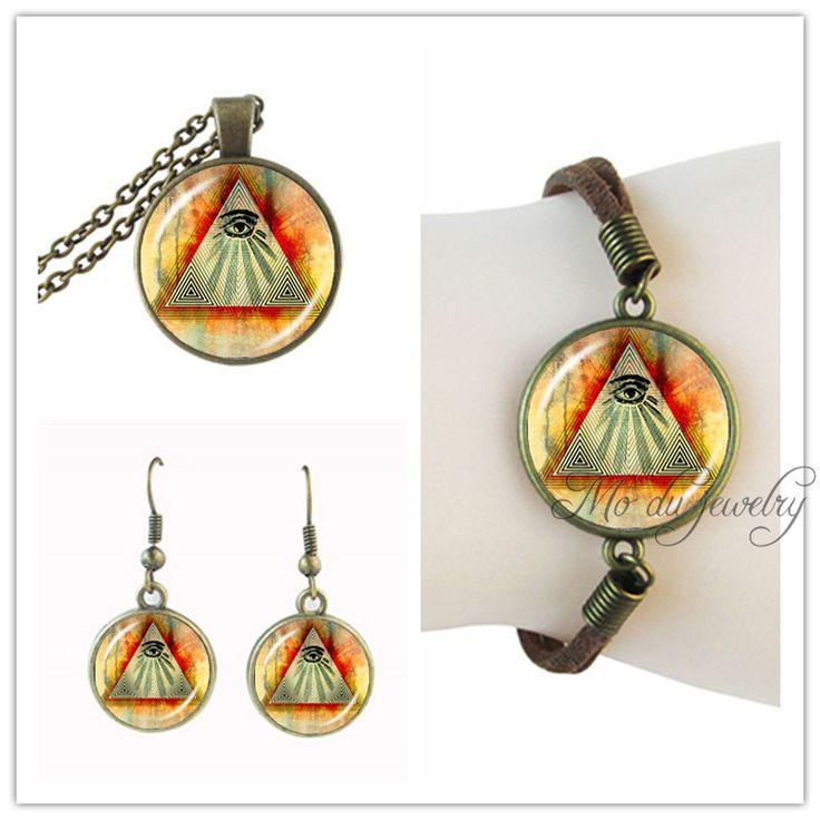 Eye Of Providence Necklace Egypt Pyramid Pendant All Seeing Eye Earring Set Bracelet,Masonic Sign Jewelry Set Third Eye Jewelry