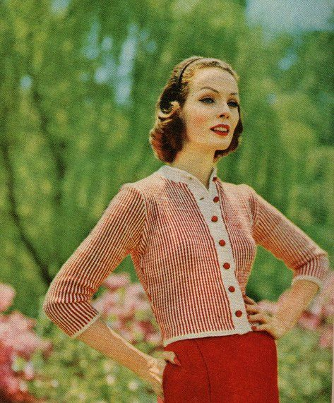 Striped cardigan vintage knitting pattern