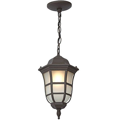 Traditional Gooseneck Hanging Outdoor Chandelier Light | Classical Matte Bronze Finish with Frosted Glass | Exterior Lighting LED Bulb 2700K Included.