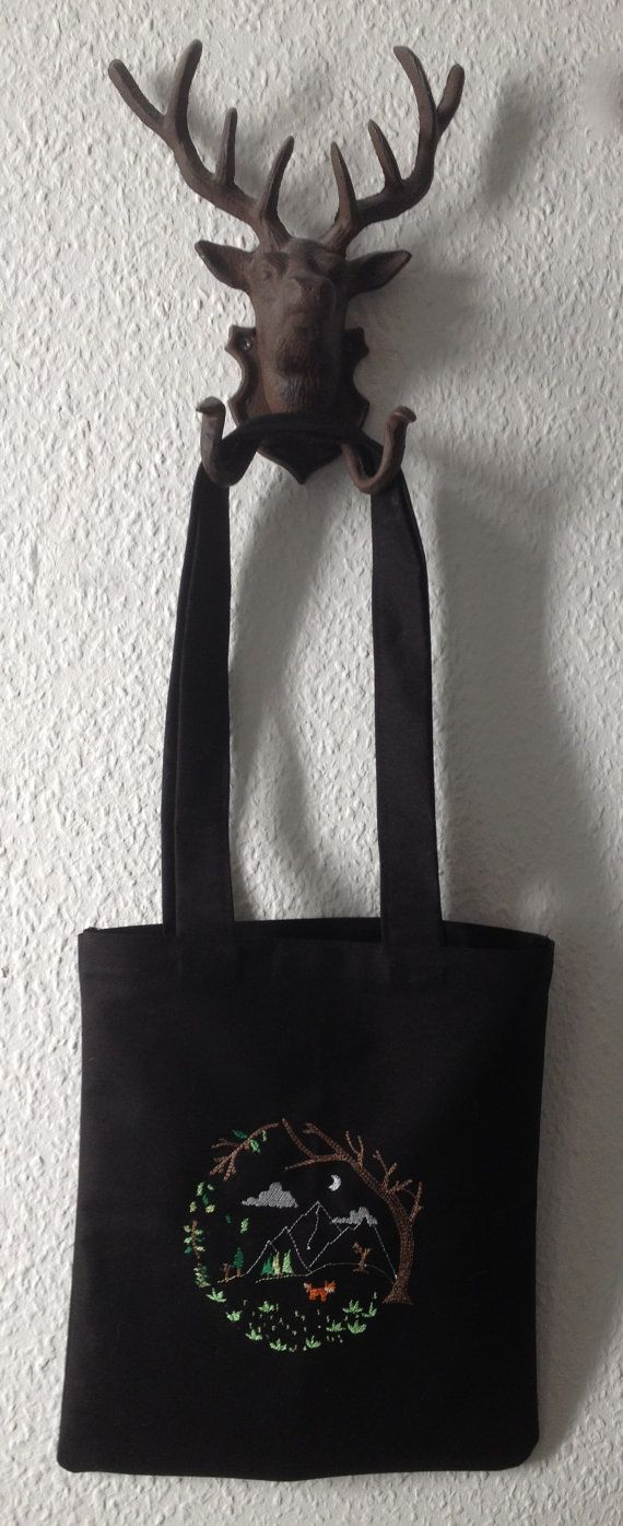 Forest Embroidery Tote bag by BonitoFracaso on Etsy @Etsy #etsy #tote bag #black #forest