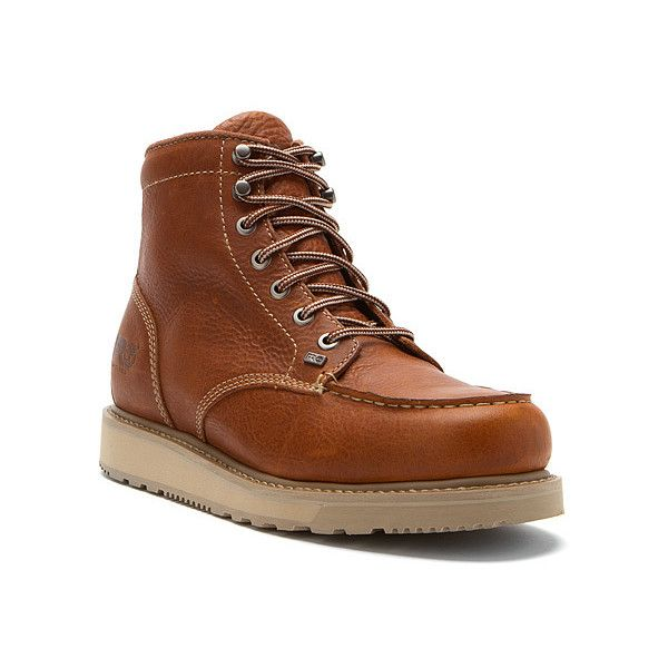 Timberland Pro Boots ($105) ❤ liked on Polyvore featuring men's fashion, men's shoes, men's boots, men's work boots, boots, men, rust full grain leather, mens steel toe work boots, mens wedge work boots and timberland mens boots