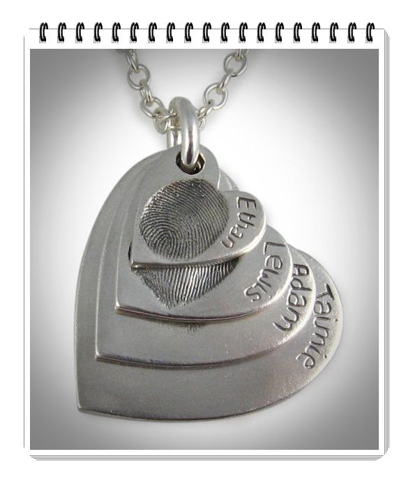 Quadruple Fingerprint Silver Heart Necklace