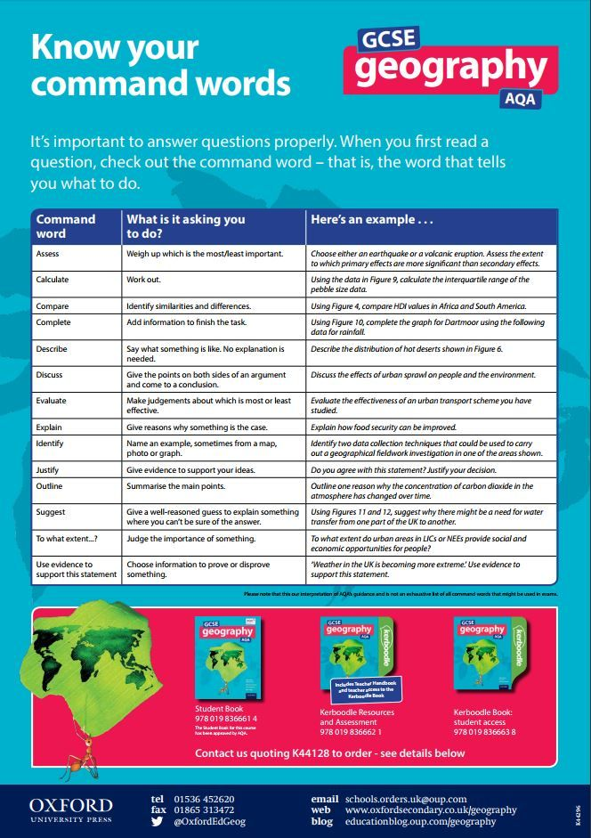 "Download your free GCSE Geography command words poster | What does ""assess"" mean? Know your command words 