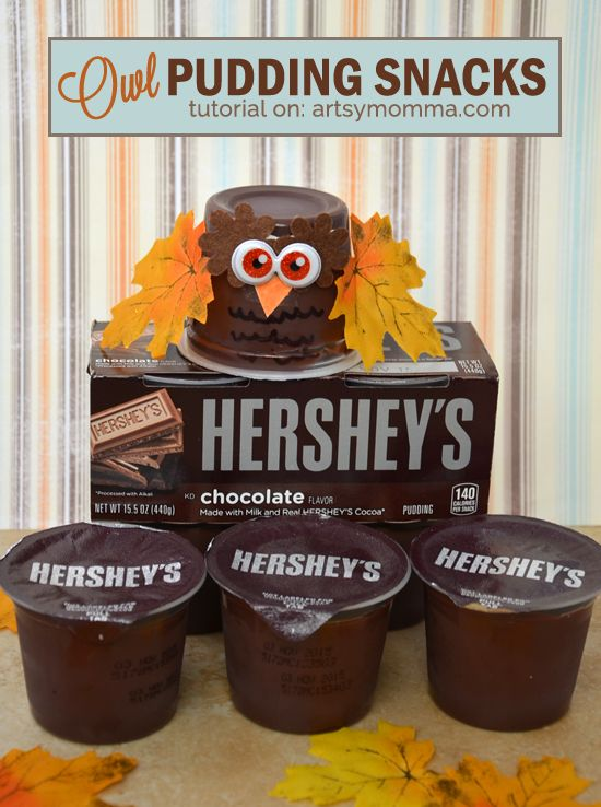 Crafty Owl Snacks made from Hershey's Ready to Eat Pudding [ad] #ReadySetSnack #CollectiveBias