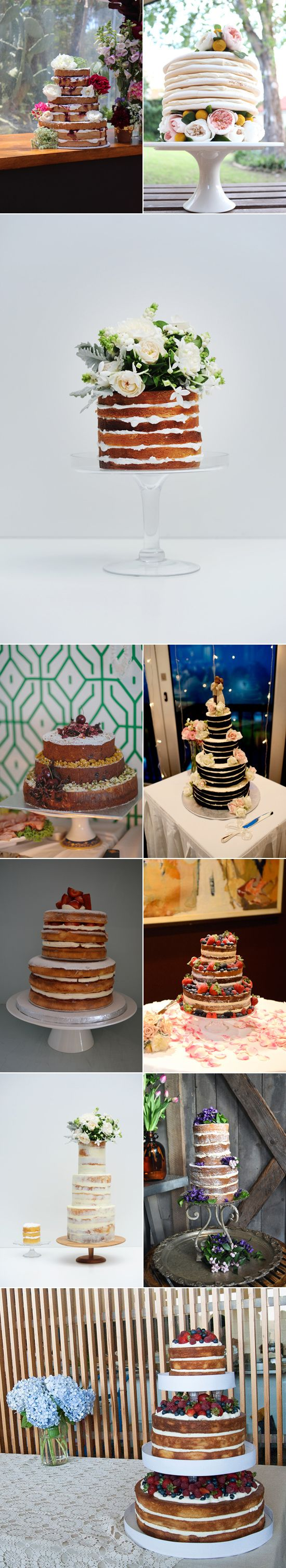 "I have been loving the new idea of ""naked"" wedding cakes. Not everybody is a lover of fondant, ganache and butter cream and there is something utterly beautiful about layers upon layers of delicious cake oozing with delicious filling and topped with fresh blooms that makes me oh so very very hungry."