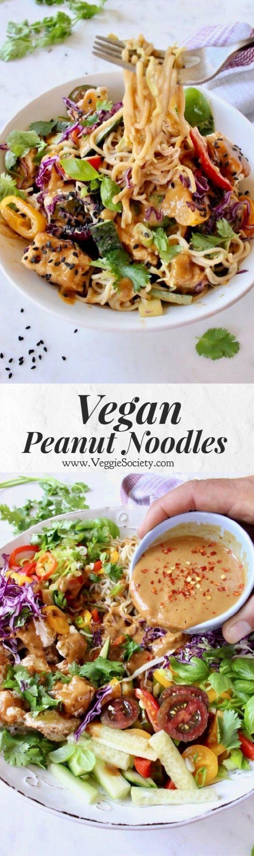 Vegane Erdnussnudeln mit Gemüse, Ramen, luftgebra…