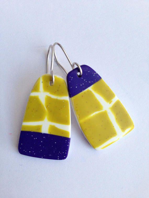 Earrings Polymer clay dangles Asymmetric dangle earrings