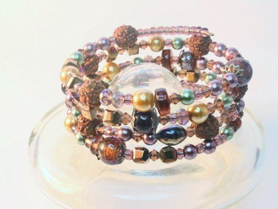 4 strand bracelet. Memorywire glass  by Lisbethstafnedesigns