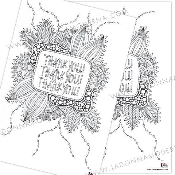 Thank You - Adult Coloring In - Colouring In - All Ages - Handdrawn - Instant Download for just NZ$3!