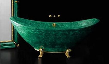 Malachite Baldi bathtub stands on 24 carat-gold-plated feet - costs $200,000!