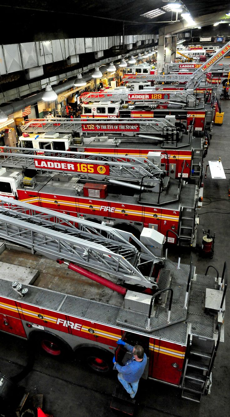 Apparatus being serviced at the FDNY Shops.