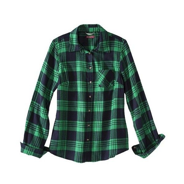Mossimo Supply Co. Merona Petites Long-Sleeve Flannel Shirt (€15) ❤ liked on Polyvore featuring tops, shirts, shirts / blouses, multicolor, green top, flannel top, multi colored long sleeve shirt, green long sleeve shirt and long sleeve shirts
