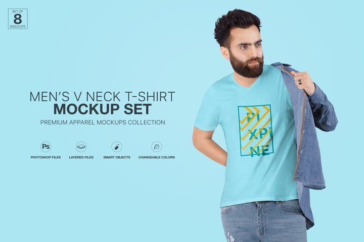 Download Mens V Neck T Shirt Mockup Set Advertise Advertising Apparel Blank Branding Casual Fashion Isolated Lifesty Clothing Mockup Shirt Mockup Tshirt Mockup