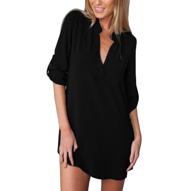Chiffon Shirt Dress Long Sleeve V Neck