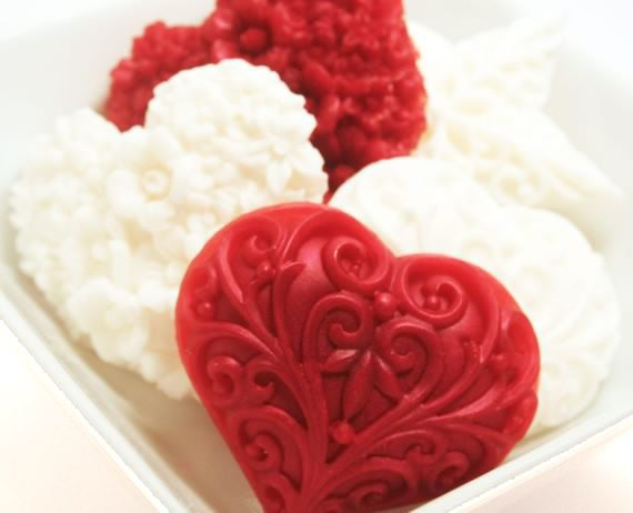 Red and White Valentine's Heart Soaps  by SakuraBathAndBody