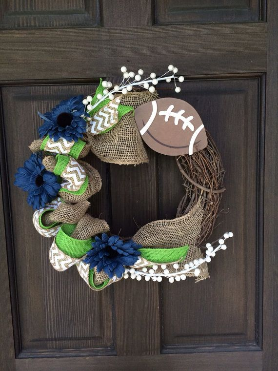 Its Seahawks time again! Is your house ready? Seahawks, or any sports team colored wreath, $40.00. And a letter for $5.00
